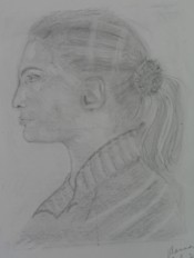 drawing of a face in profile